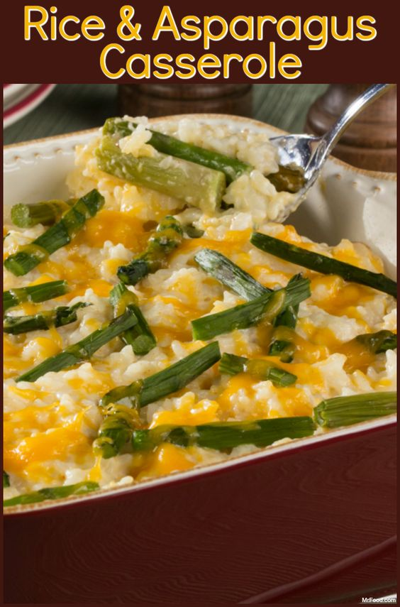 This creamy Rice and Asparagus Casserole is made with in-season, fresh asparagus. It's a great side dish to enjoy in the spring!