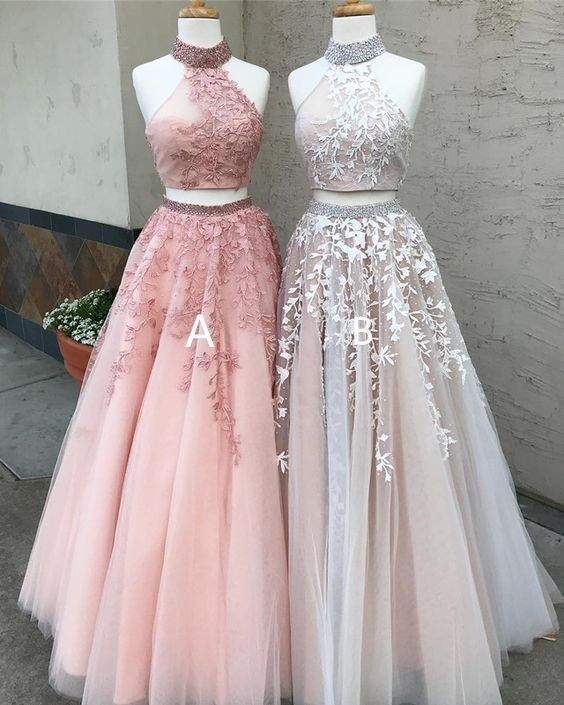 Two piece prom dresses long lace