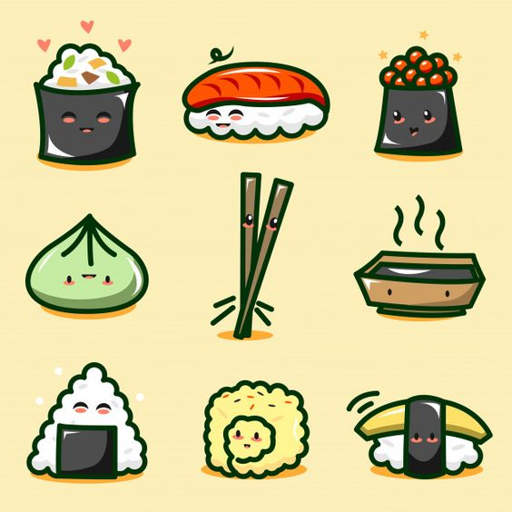 Cute sushi character collection. Download thousands of free vectors on Freepik, the finder with more than 3 millions free graphic resources