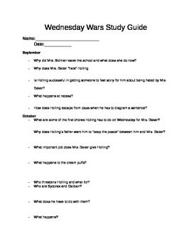 essay questions for wednesday wars The setting of the novel the wednesday wars occurs during a significant period  of  guiding questions: what are the guiding questions for this lesson  based  on previous discussion, recap with students some of the key facts and details.