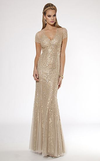Cap sleeve gold gowns | home shop evening gowns gold cap sleeve ...