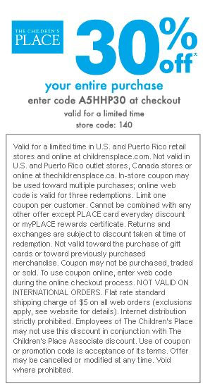 Coupons children's place printable