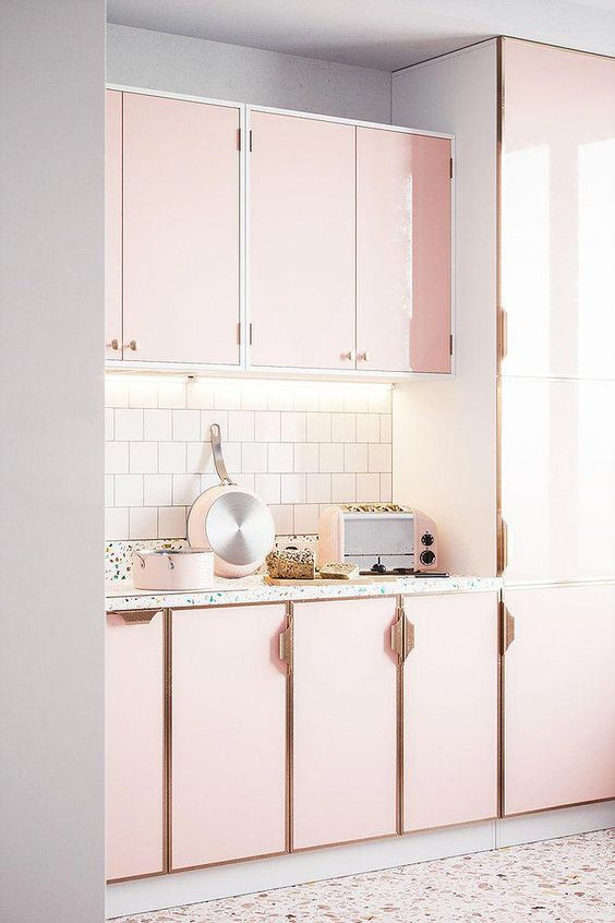 Where can I get large size terrazzo tiles and inspiration to decorate my home? Terrazzo heaven | a kitchen with terrazzo floor and worktop candy floss colours and rose gold | Seasons in Colour | UK Award Winning Interiors & Lifestyle Blog #terrazzo #girly #pink #kitchen #kitchenlayout