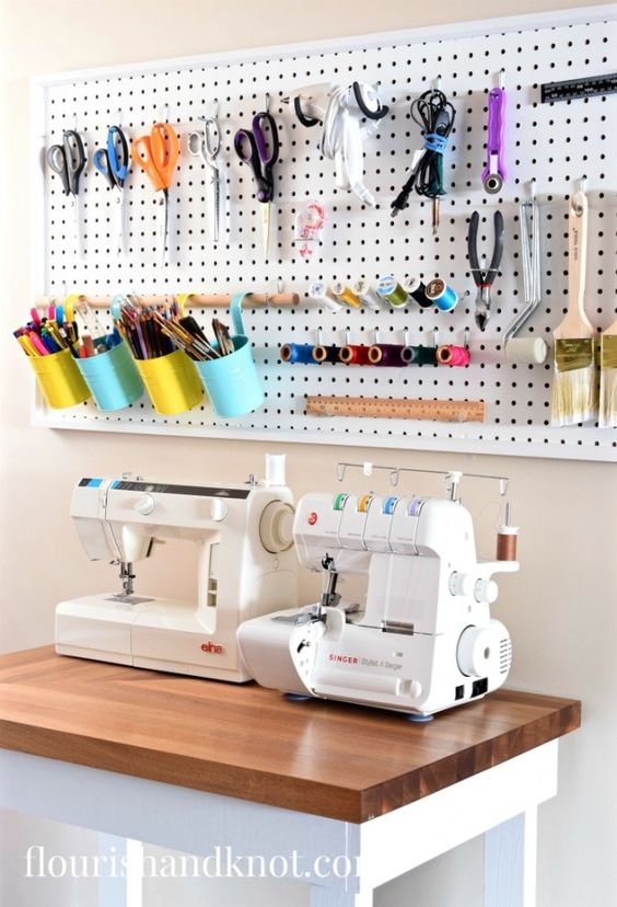 Pegboard Sewing Supply Storage | $100 Craft & Sewing Room Makeover | DIY Home Decor | Budget Decorating | $100 Room Challenge