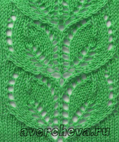 Knitting Rose Stitch : Pattern quot openwork band of leaves directory