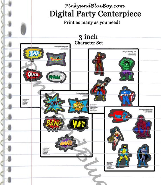 Set of 3 quot inch digital superheroes 3 quot character print outs cut outs