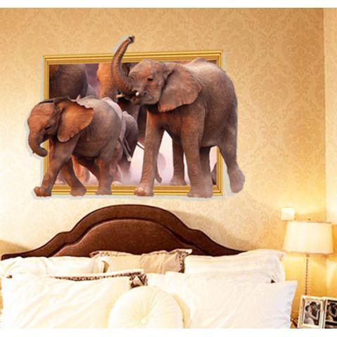 3D Wandtattoo Elefanten im Rahmen