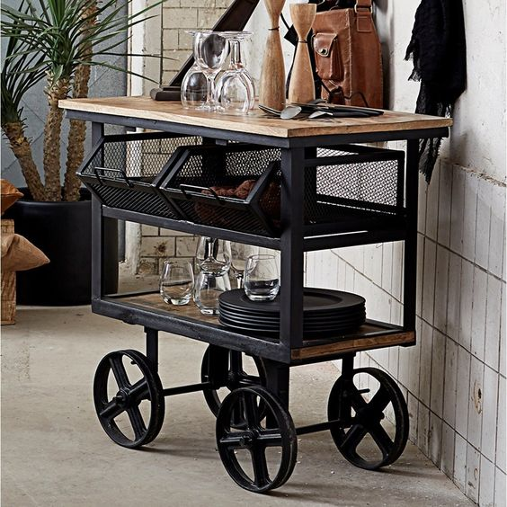 Bentley Industrial Metal And Wood Wheeled Kitchen Serving: Industrial Factory Storage Trolley
