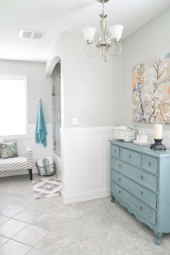 Love everything about this bathroom gray and white the for Gray and turquoise bathroom