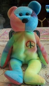 Ty Beanie Baby tie dye peace bear, 1996 FREE-SHIPPING