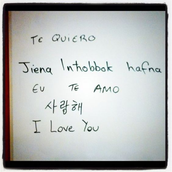 """I love you"" in spanish, maltese, portuguese and korean. <3 World Day for Cultural Diversity."