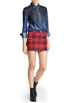 MANGO - PRENDAS - Faldas - Minifalda cremalleras cuadro escocés