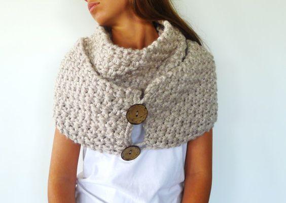 Bufanda con botones hecha a mano bufandas tejidas para - Bufandas de lana originales ...