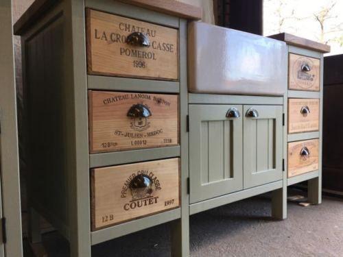 6 Drawer Wine Box Belfast Sink Unit Oak Worktop Freestanding