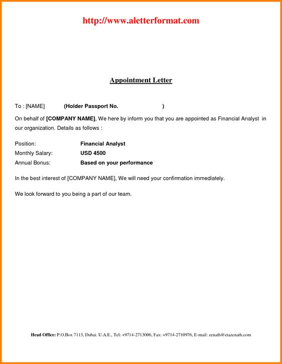 Appointment Letter Free Download Pdf  Swity