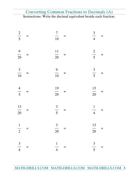 Fractions Worksheet Convert Fractions to Decimals A – 6th Grade Fractions Worksheets