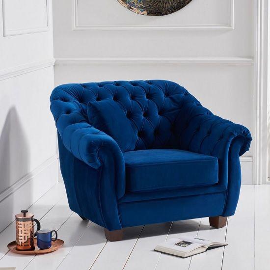 Sylvan Chesterfield Fabric Sofa Chair In Blue Plush Fabric Armchairs Fabric Sofa Plush Furniture