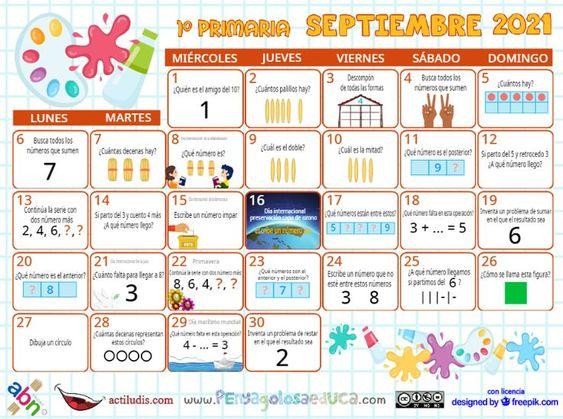 Calendario Primero ABN – Septiembre 2021