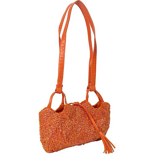 Moyna Handbags Beaded Shoulder Bag Orange/Gold - Moyna Handbags Fabric Handbags
