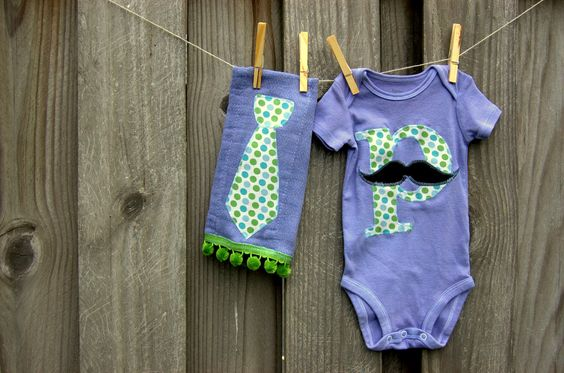 Swanky Shank Hand-dyed Blue Neck tie Burp Cloth and Initial Hipster Onesie. $18.00, via Etsy.