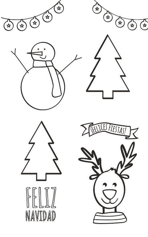 Dibujos De Navidad Para Colorear Manualidades Dibujos De Navidad Dibujo Navidad Para Colorear Tarjetas De Navidad Para Ninos