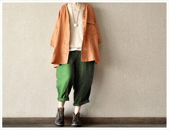 Green Loose Leisure Cotton Pants Women Clothing por clothingshow, $49.90