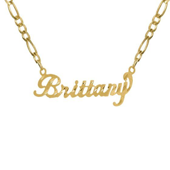Pin On Nameplate Necklace Gold