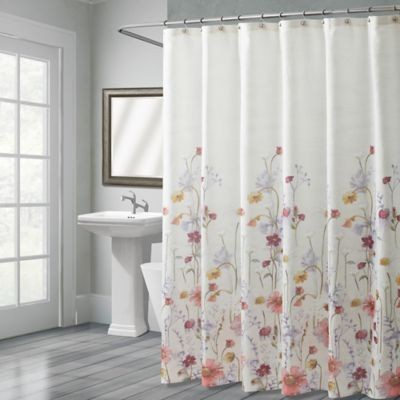Croscill Pressed Flowers Stall Shower Curtain Multi Flower Shower Curtain Fancy Shower Curtains Bathroom Shower Curtains