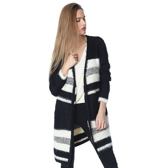 Black Longline Striped Cardigan In Super Soft Touch LAVELIQ