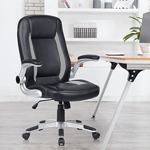 PU Leather High Back Office Chair Adjustable Swivel Computer Desk Armchair Wheel