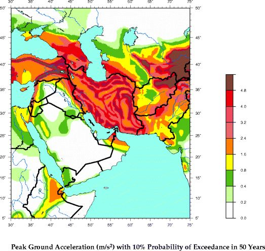 Middle east earthquake zone map