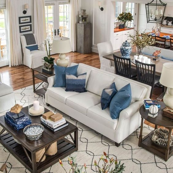 Wohnzimmer in Blau und Cremeweiß Ideen Wohnung Pinterest - wohnzimmer deko ideen blau