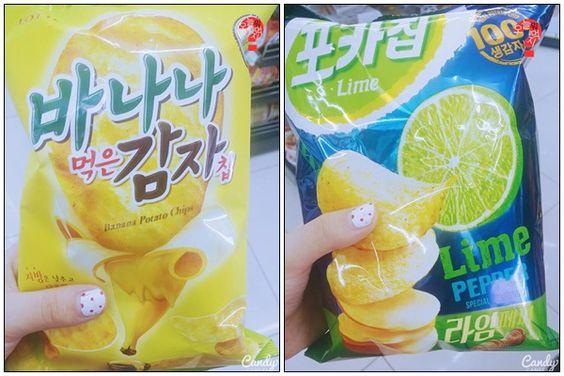 Koreanische Bananen-Kartoffelchips und Limetten-Pfeffer-Chips #Chips #Koreawelle