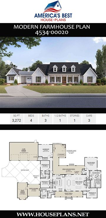 House Plan 4534 00020 Modern Farmhouse Plan 3 272 Square Feet 4 Bedrooms 3 5 Bathrooms Modern Farmhouse Plans House Plans Farmhouse Farmhouse Plans