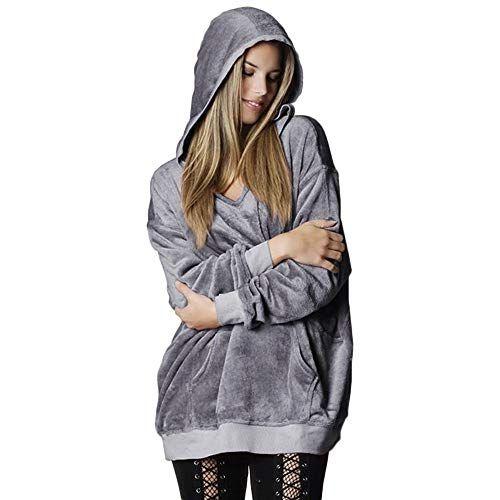Women Winter Oversized Pockets Velvet Sweatshirt Hoodie Pullover Coat Jacke WO