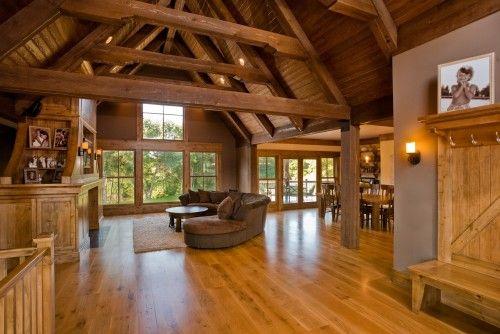 Open floor plan wood interior modern farm house decor for Modern farmhouse open floor plans