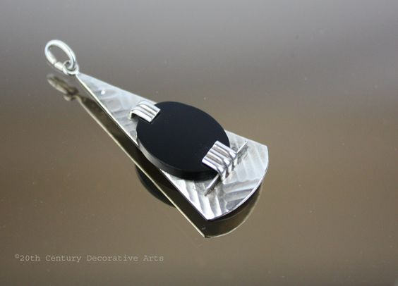 An Art Deco 925 silver and onyx pendant  attributed to Gustav Braendle -Theodor Fahrner, Germany circa 1930,