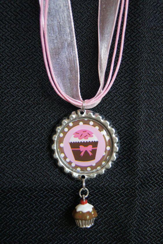 Bottle Cap Necklace  Cupcake by KokomoCutieBoutique on Etsy, $8.50