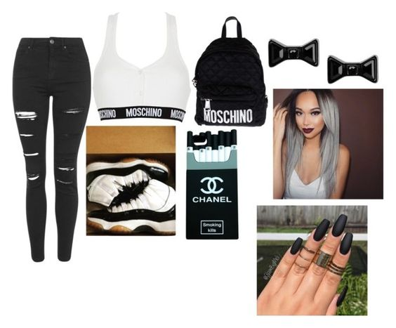 """""""Untitled #44"""" by monicachristmas063 ❤ liked on Polyvore featuring Moschino, NIKE, Topshop, Marc by Marc Jacobs, women's clothing, women's fashion, women, female, woman and misses"""