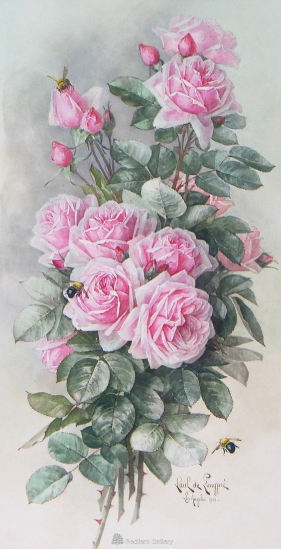 "Paul De Longpre -"" Roses And Bees""  Watercolor  c.1903:"