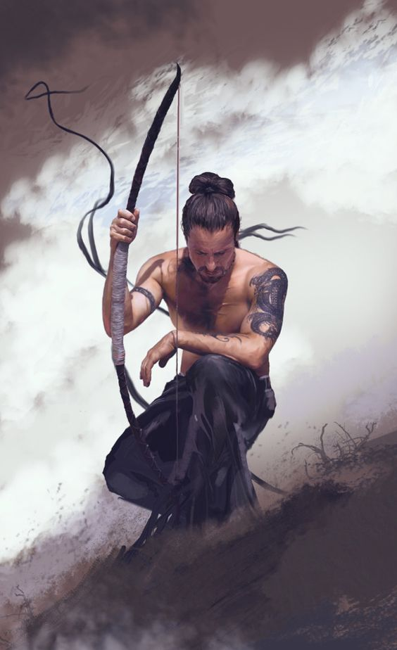 Tattooed male archer: