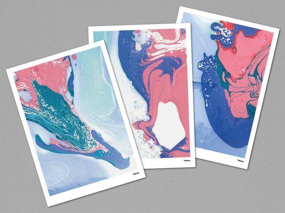 EBRULI BLUE MARBLE — Postkarten, moderne Grußkarten, abstrakte Einladungskarten, Grafik, Malerei, Marmor, Kunst, Geschenk, Geburtstag von banum auf Etsy