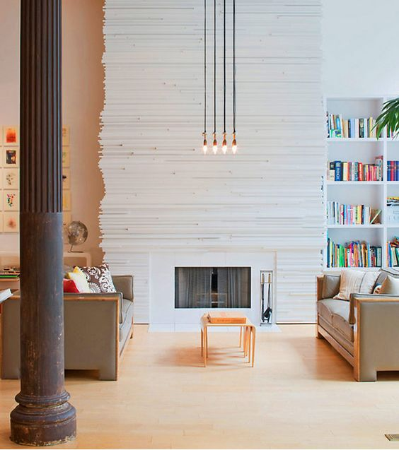Simply made fireplace wall makes a huge statement.
