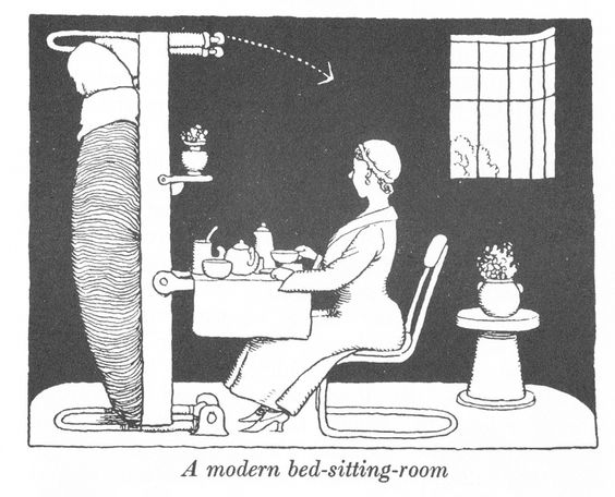 """From """"How to live in Flat"""" by W. Heath Robinson and K. R. G. Browne """", Duckworth and Co London 1976 (Image Reproduced by kind permission of Pollinger Limited and the Estate of Mrs J C Robinson)"""