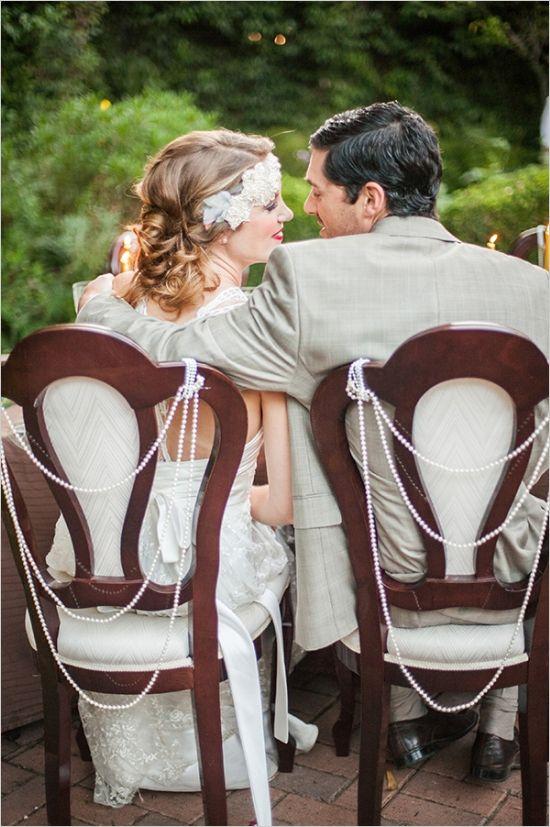 bride and groom wedding seats #roaring20wedding #weddingchicks http://www.weddingchicks.com/2014/01/02/easy-roaring-20s-wedding-ideas/