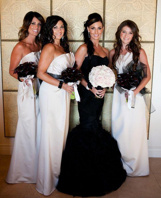 A rock n roll wedding with a black wedding dress for Rock n roll wedding dress