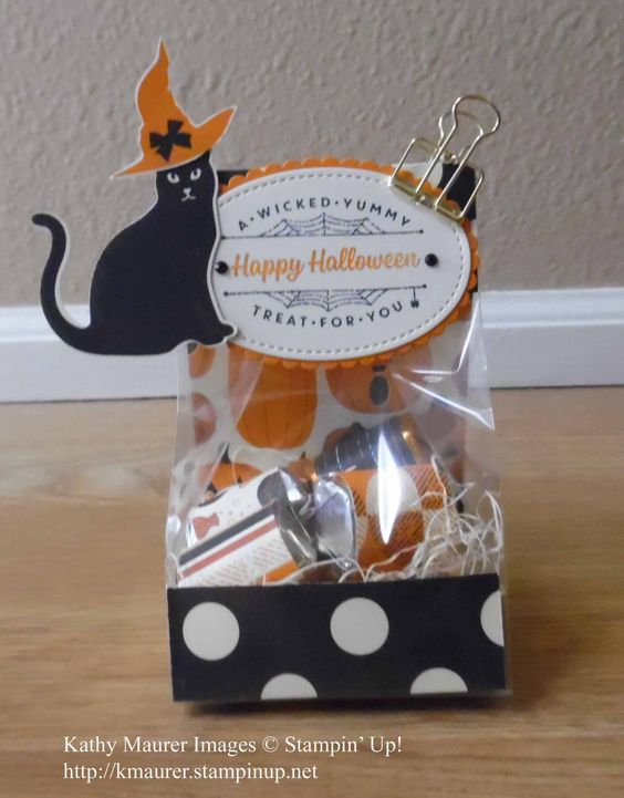 Halloween Treat Bag made with Stampin' Up!'s Spooky Cat Stamp Set and Cat Punch. For details, go to my Wednesday, September 20, 2017 blog at http://www.stampinup.net/blog/2130686/entry/spooky_cat_treat_bag