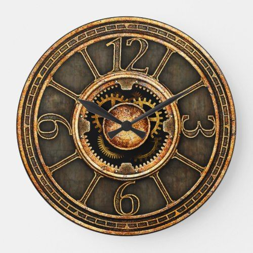Vintage Steampunk V2 Large Clock Zazzle Com Victorian Clocks