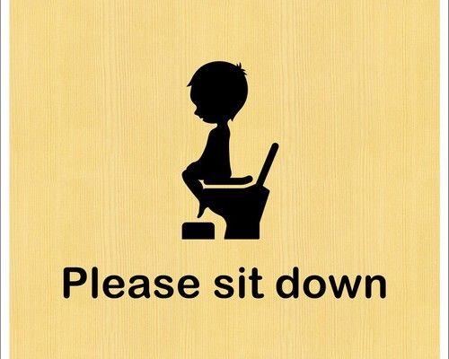 キュートな Please Sit Down サインステッカー トイレマーク 座って 立ちション禁止 賃貸ok ステッカー 引越し はがき ステッカー シール
