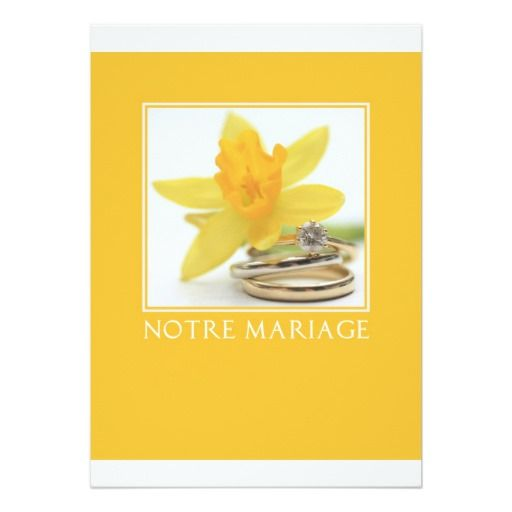 yellow daffodil wedding invitation french
